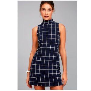 Navy grid print dress NWT✨